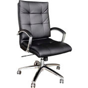 Interion® Premium Task Chair with Bungee Seat - Leather - Black