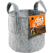 Hydrofarm HGDB10 Dirt Pot Flexible Portable Planter with Handles, 10 Gallons , Grey