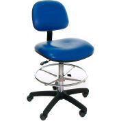 Heavy Duty Stool - Vinyl - Low Back - Nylon Base - Blue