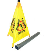 """Impact® Pop Up Safety Cone 31"""" Yellow/Black, Multi-Lingual - 9182 - Pkg Qty 4"""