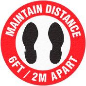 "Walk On Floor Sign - MAINTAIN DISTANCE 6FT-2M APART, 17"" Dia."