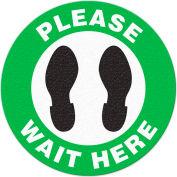 "Walk On Floor Sign – PLEASE WAIT HERE, 17"" Dia."
