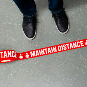 """INCOM® MAINTAIN DISTANCE Floor Tape, 2-1-4""""W x 54'L, Red, 1 Roll, WPT115"""