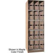 Ironwood 15 Compartment Black Grill Door Storage Locker, Natural Oak Color