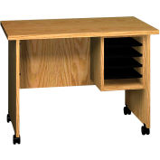 """Ironwood Small Computer Stand, 36""""W x 22""""D x 26""""H, Natural Oak"""