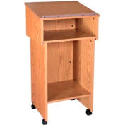 "Two Section Stand Up Podium / Lectern - 24""W x 19-3 / 4""D x 43-1 / 2""H Natural Oak"