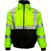 Tingley® Bomber 3,1™ Hi-Vis capuche veste, fermeture éclair, Fluorescent jaune/vert/noir, XL
