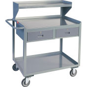 Two Drawer Mobile Service Bench with Riser - 24 x 36