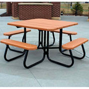 Frog Furnishings Recycled Plastic 4 ft. Square Picnic Table, Red