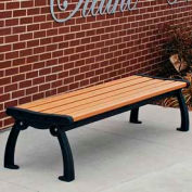 Heritage Backless Bench, Recycled Plastic, 4 ft, Black Frame, Cedar