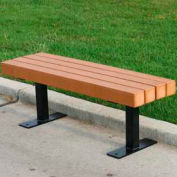 Frog Furnishings Recycled Plastic 4 ft. Trailside Bench, Cedar Bench/Black Frame