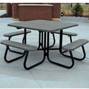 Square Picnic Table, Recycled Plastic, 4 ft, Gray