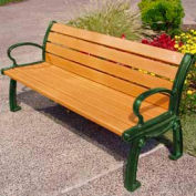Frog Furnishings Recycled Plastic 6 ft. Heritage Bench, Cedar Bench/Green Frame