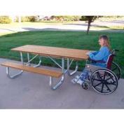 Galvanized Frame Picnic Table, Recycled Plastic, 6 ft, Cedar, ADA