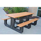 Frog Furnishings Recycled Plastic 6 ft. Park Place Picnic Table, Cedar