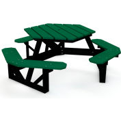 Global Industrial™ 6 ft. Recycled Plastic Hexagon Picnic Table with Black Frame - Green