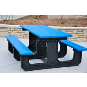 Frog Furnishings Recycled Plastic 8 ft. Park Place Picnic Table, Blue