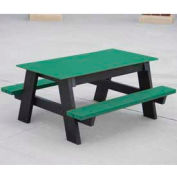 Kids Picnic Table, Recycled Plastic, 4 ft, Green