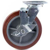 "HD Swivel Caster 8"" Mold On Rubber on Cast Iron Wheel, Roller Bearing, 4""x4-1/2"" Plate, Black"