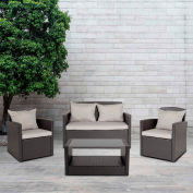 Flash Furniture 4-Piece Black Outdoor Patio Set w/ Gray Back Pillows and Seat Cushions