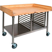 "John Boos BAK05 Mobile Maple Top Prep Table - Stainless Steel Legs Shelf and Pan Rack 60""W x 36""D"