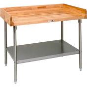 """John Boos DSS09 W 96"""" x 30"""" D érable Table Top avec pieds en acier inoxydable et étagère"""