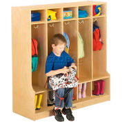 "Jonti-Craft® Kid Seat Coat Locker, 5 Wide, 48""W x 17-1/2""D x 50-1/2""H, Birch Plywood"