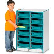 """Jonti-Craft® Cubbie Mobile w/12-bacs à papier, 24-1/2"""" Wx15 «Dx35-1/2» H, gris de bord stratifié, noir"""