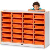 """Jonti-Craft® 24 plateau Mobile Cubbie w/o Gray bacs à papier, 48"""" Wx15 «Dx35-1/2» H, stratifié, bord rouge"""