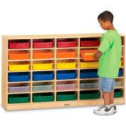"""Jonti-Craft® 20 plateau Mobile Cubbie w/couleur-bacs à papier, 60"""" W x 15 «D x 35-1/2» H, contreplaqué de bouleau"""