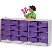 """Jonti-Craft® 20 baignoire Mobile Cubbie w/Tubs, 60"""" W x 15 «D x 29-1/2» H, gris bord stratifié, violet"""