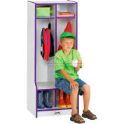 """Jonti-Craft® Kid Seat Locker, 2 Wide, 20""""W x 17-1/2""""D x 50-1/2""""H, Gray Laminate, Purple Edge"""