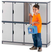 "Jonti-Craft® Lockable Lockers, Double Stack, 48-1/2""Wx15""Dx45-1/2""H, Gray Laminate, Teal Edge"