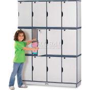 "Jonti-Craft® Lockable Lockers, Triple Stack, 48-1/2""Wx15""Dx67""H, Gray Laminate, Blue Edge"