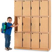 """Jonti-Craft® Stacking Lockable Kid Locker, Triple Stack, 48-1/2""""W x 15""""D x 67""""H, Maple Laminate"""