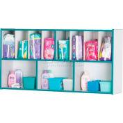 """Jonti-Craft® mur monté couche-culotte organisateur, 48"""" W x 12"""" H D x 25, Gray, stratifié, bord bleu sarcelle"""