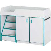 "Jonti-Craft®-couches changeur escalier gauche, 48-1/2"" Wx23-1/2"" Dx38-1/2 H, Gray en stratifié, bord bleu"