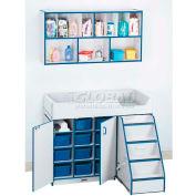 """Jonti-Craft®-couches changeur escalier droit, 48-1/2"""" Wx23-1/2"""" Dx38-1/2 H, Gray en stratifié, bord bleu sarcelle"""