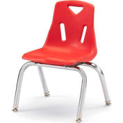 "Jonti-Craft® Berries® Plastic Chair with Chrome-Plated Legs - 10"" Ht - Red"