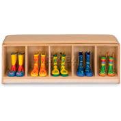 "Jonti-Craft® Kid banc Locker, 5 large, bleu coussin, 48"" W x 15 «D x 16» H, contreplaqué de bouleau"