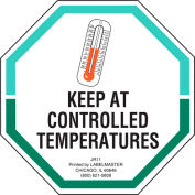LabelMaster® Keep At Controlled Temperatures Labels, 3» x 3», Blanc/Vert, 500 Étiquettes