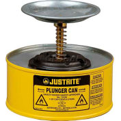Justrite Plunger Can, 1-Quart, Yellow, 10118