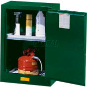 "Justrite 12 Gallon 1 Door, Manual, Compac, Pesticide Cabinet, 23-1/4""W x 18""D x 35""H, Green"