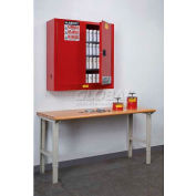"""Justrite 168 Aerosol Cans, 2 Door, Manual, Wall Mount, Paint & Ink Cabinet, 43""""W x 12""""D x 44""""H, Red"""