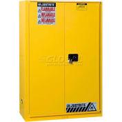 "Justrite 90 Gallon 1 Sliding Door, Self-Close, Flammable Cabinet , 43""W x 34""D x 65""H, Yellow"