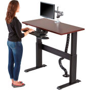 "Rightangle™ Eficiente Lt Electric Height Adjustable Desk 24""X60"", Mahogany W/Black Base"