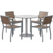 "KFI 5-Piece Outdoor Dining Set - 36""W x 29""H Table - Gray with Silver Frame"