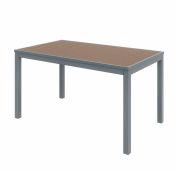 "KFI 55"" x 35"" Rectangle Outdoor Table - Mocha Polymer Top - Silver Aluminum Frame - Ivy Series"