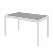 """KFI 55"""" x 35"""" Rectangle Outdoor Table - Gray Polymer Top - White Aluminum Frame - Ivy Series"""