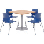 """KFI 36"""" Square Table & 4 Chair Set - Maple Table Top with Navy Chairs"""